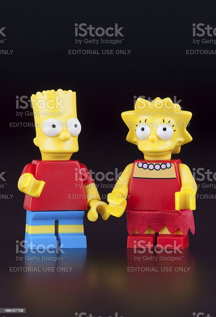 Lego Bart and Lisa Simpsons minifigures stock photo