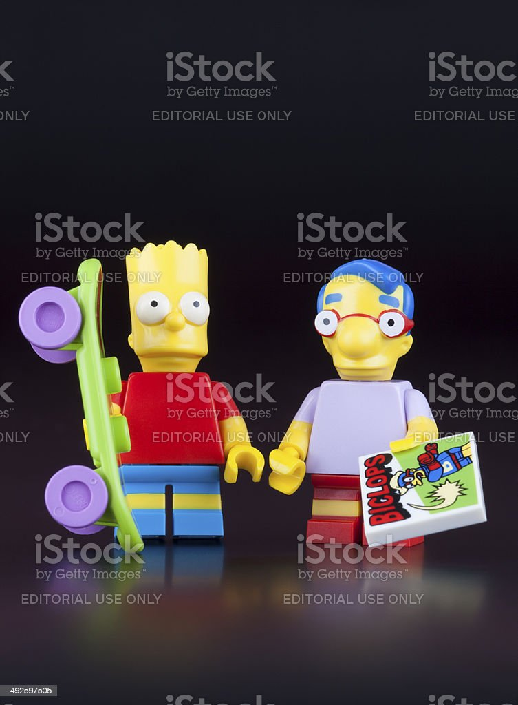 Lego Bart Simpson and Milhouse Van Houten minifigures stock photo