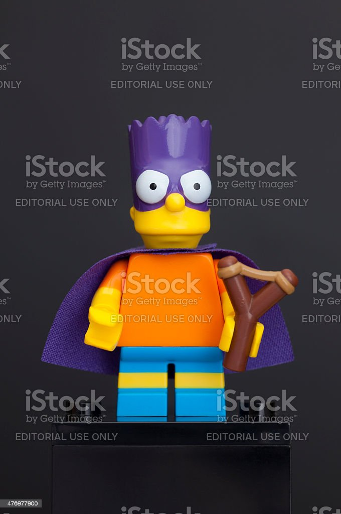 Lego Bartman minifigure (Bart Simpson) stock photo