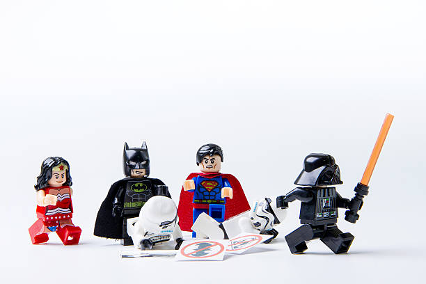 lego batman and superman expel lego stormtrooper and darth vader - darth vader 個照片及圖片檔
