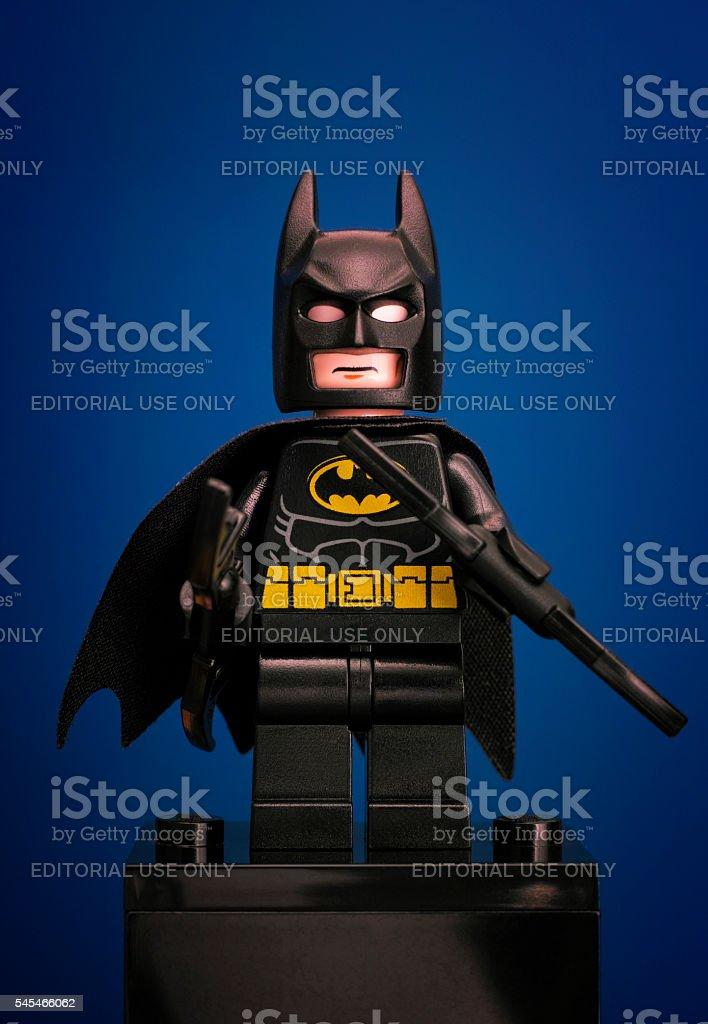 Lego Batman minifigure on blue background - foto stock