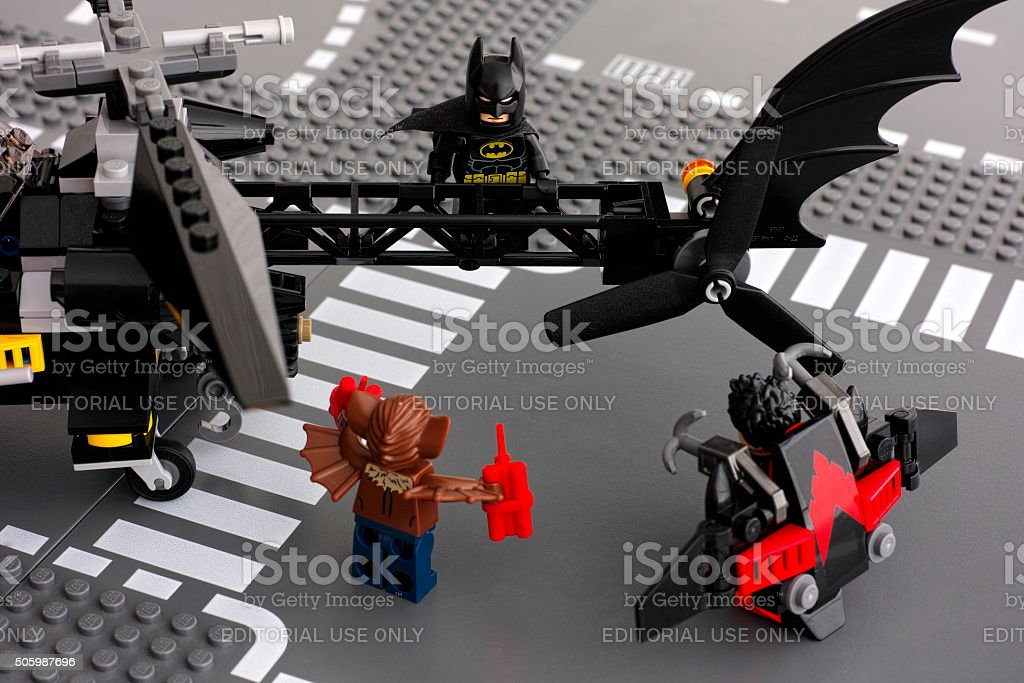 Lego Batman on Batcopter and Nightwing with Man-Bat stock photo