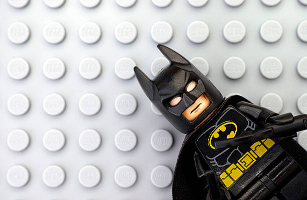 Lego Batman on gray baseplate stock photo