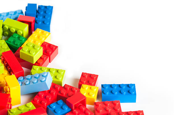 lego blocks with copy space - lego stockfoto's en -beelden