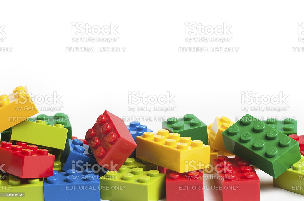 Lego blocks with copy space stock photo