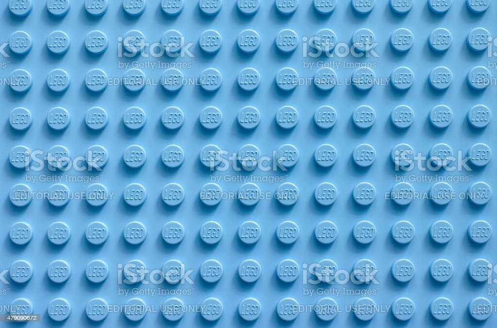 Lego blue baseplate stock photo