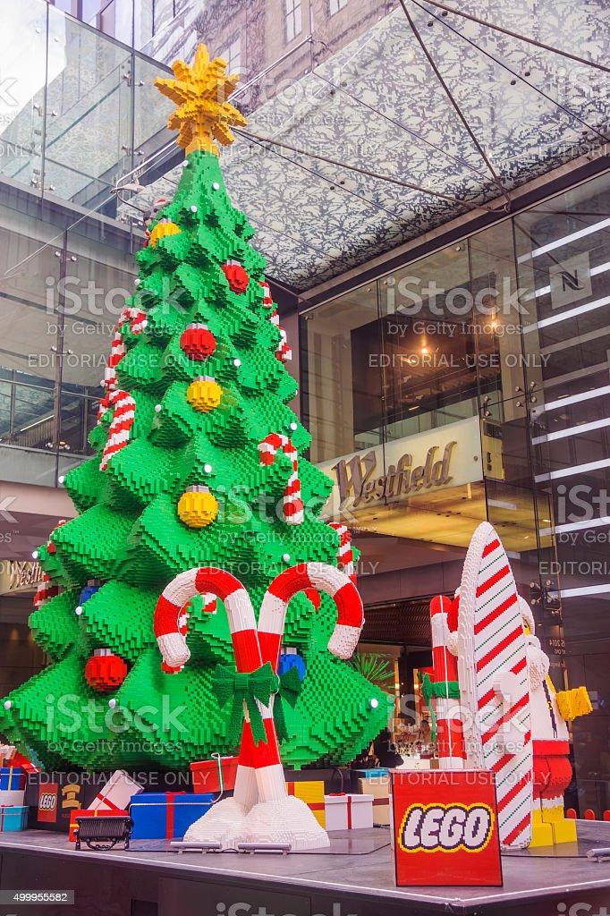 Lego Christmas Tree outside Westfield Sydney stock photo