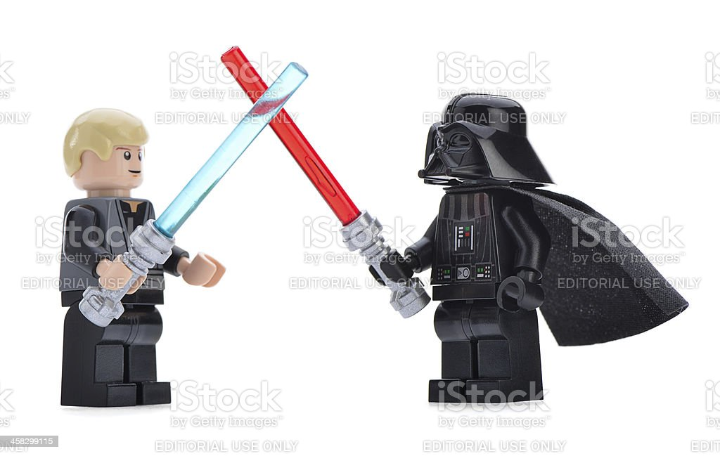 Lego Darth Vader vs Luke Skywalker stock photo