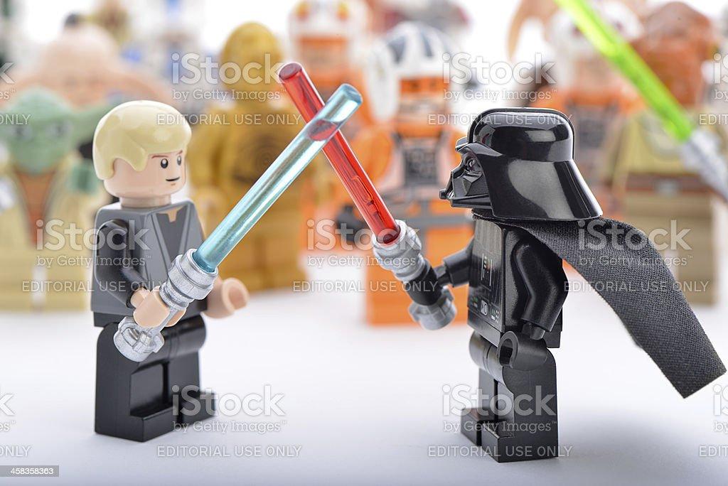 Lego Darth Vader Vs Luke Skywalker Sword Fight Stock Photo & More ...
