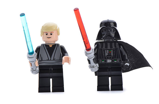 lego darth vader with luke skywalker - darth vader 個照片及圖片檔