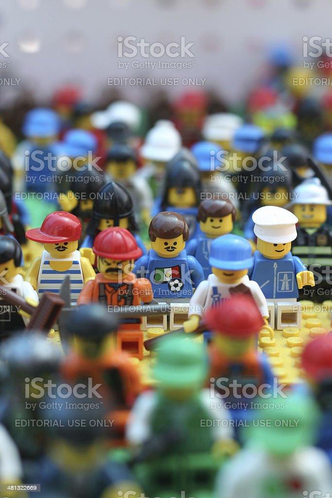 lego figures standing stock photo