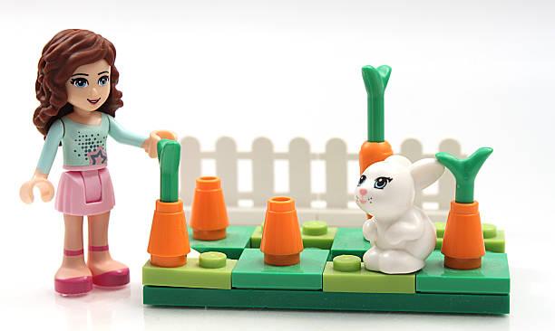 Lego Girl and Bunny stock photo