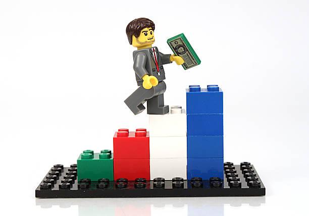Lego Man Climbing Chart stock photo