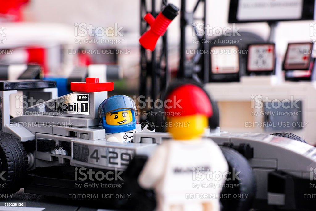 Lego McLaren Mercedes MP4-29 race car with driver royalty-free stock photo
