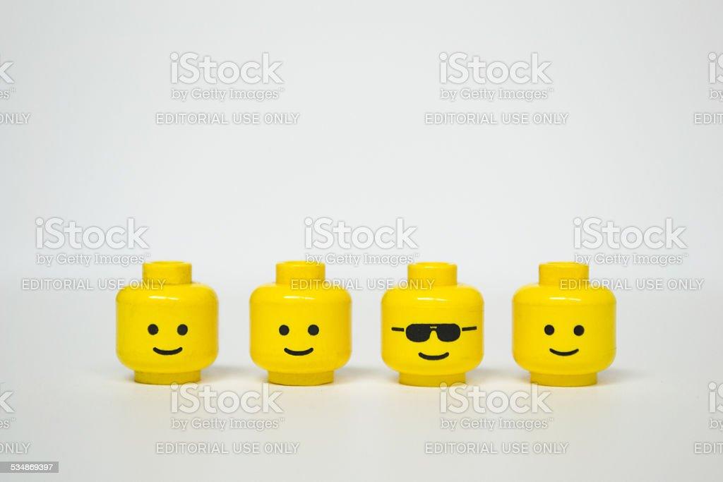 Lego mini figure heads - Royaltyfri 2015 Bildbanksbilder
