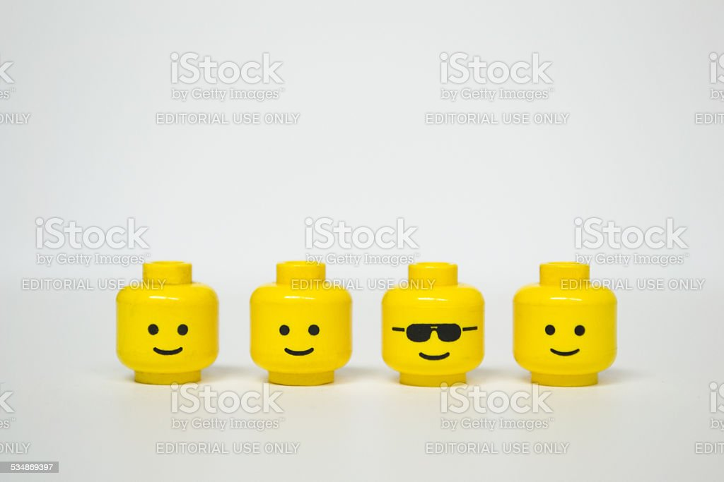 Lego mini figure heads stock photo