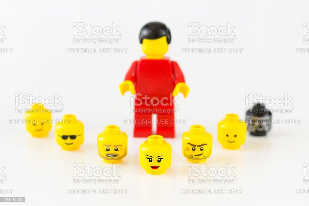 Lego Minifigure Heads stock photo