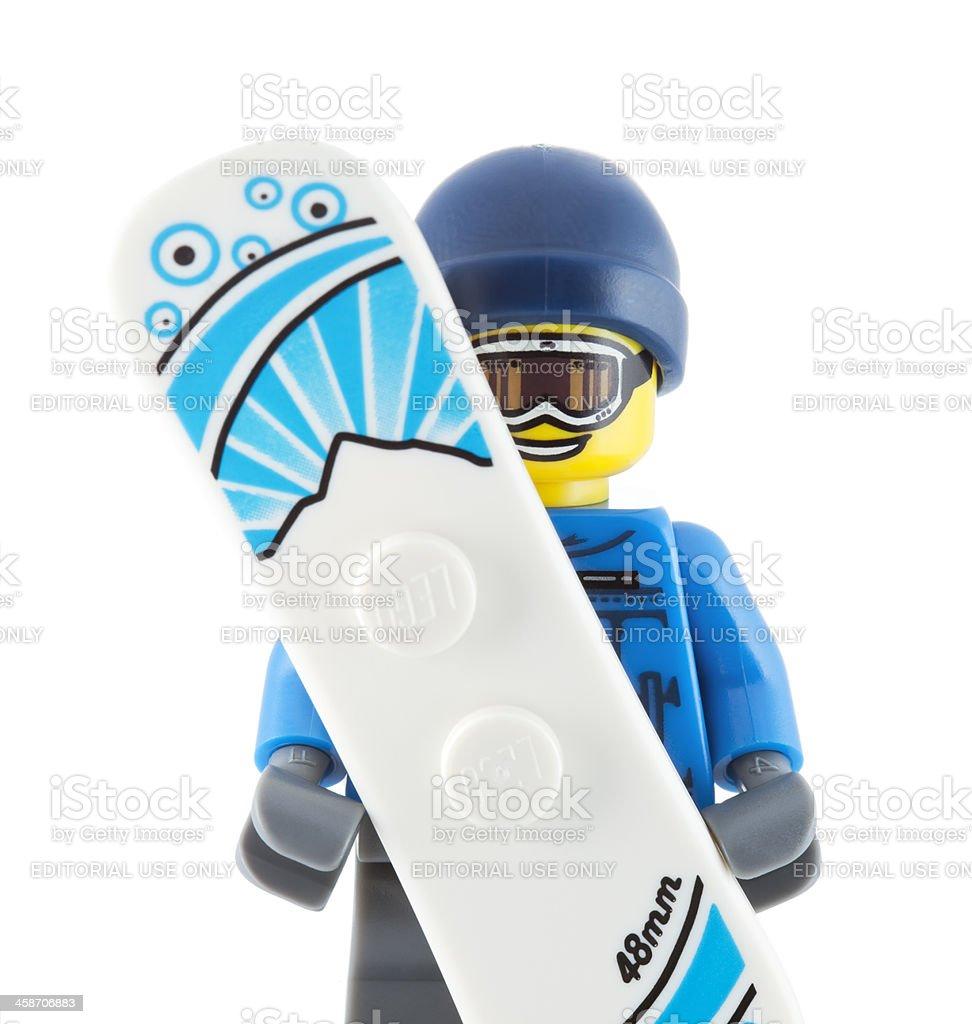 Lego Minifigure: Snowboarder royalty-free stock photo