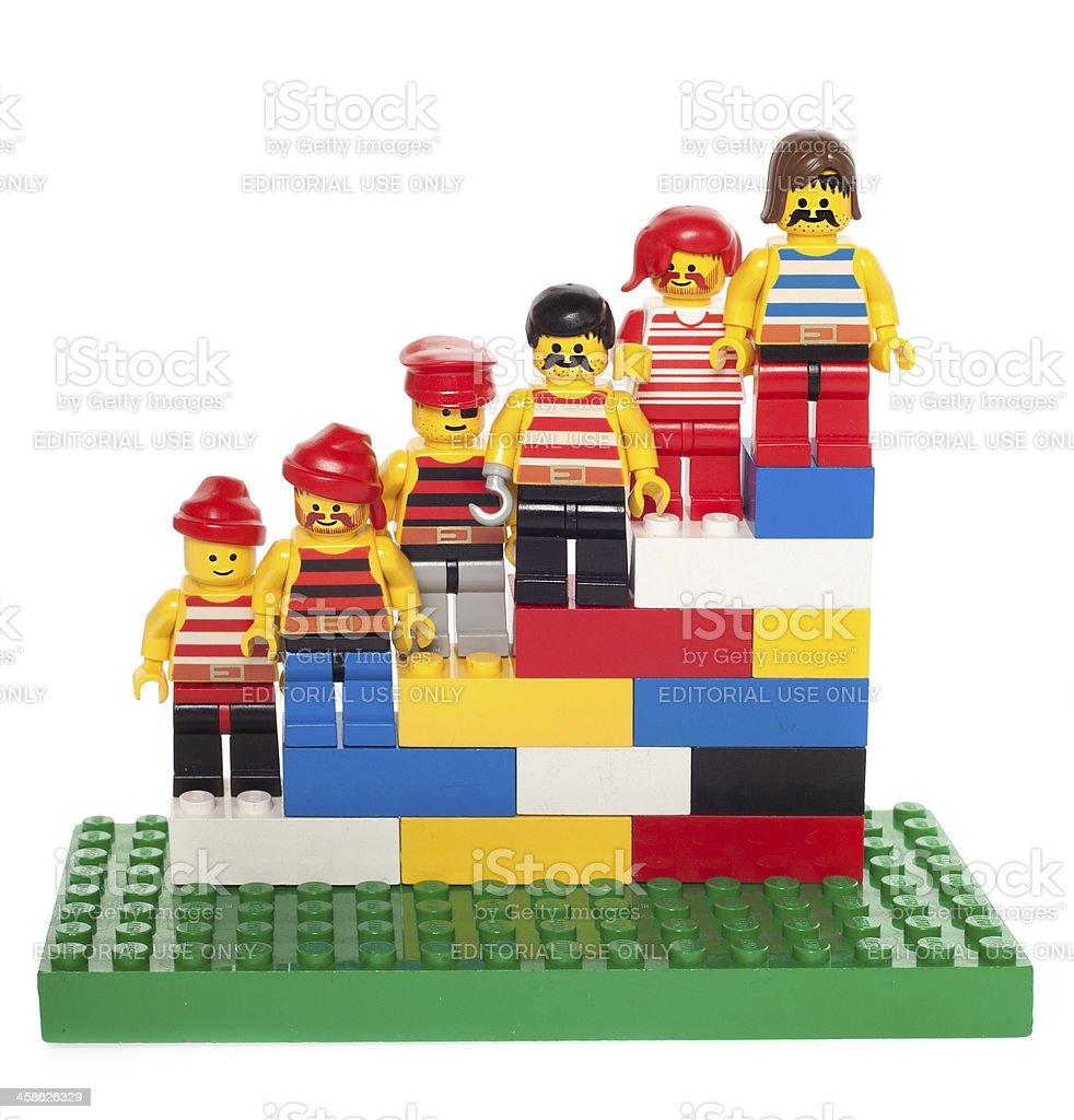 Lego People Standing on Blocks royalty-free stock photo