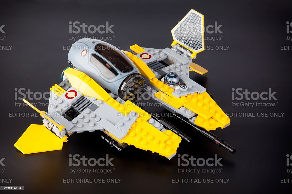 Lego Star Wars Jedi Interceptor set on black background stock photo