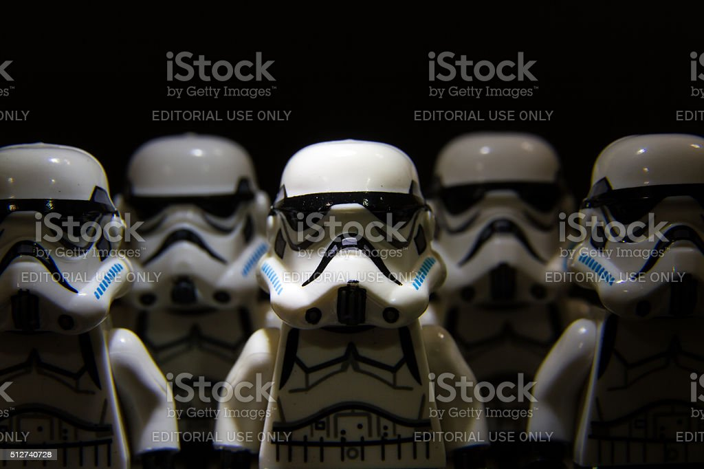 Lego star wars stormtrooper on isolated black background stock photo