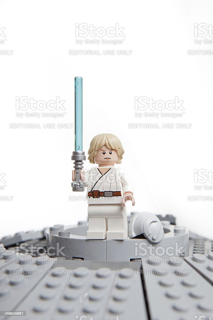 Lego Star Wars toy character: Luke Skywalker. stock photo
