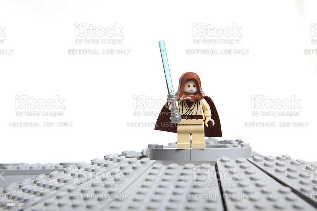 Lego Star Wars toy character: Obi-Wan Kenobi stock photo