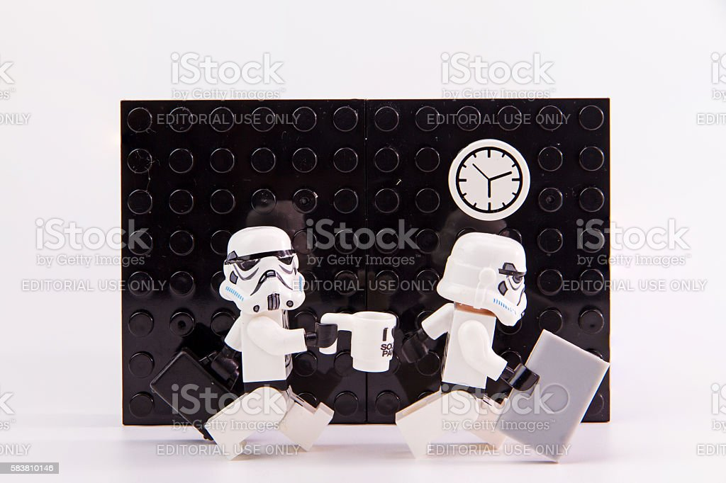 Lego star wars working time. stock photo