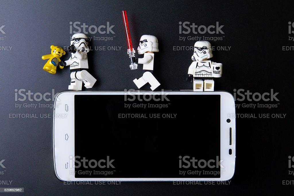 Nonthabure, Thailand - April, 05, 2016 : Lego stormtrooperSittin stock photo