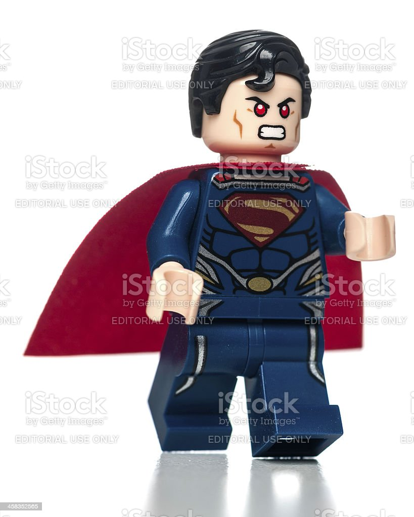 Lego Superman minifigure walking stock photo