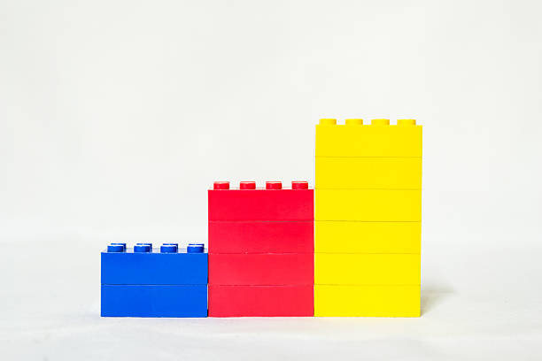 lego toy blocks rising colorful chart - lego stockfoto's en -beelden