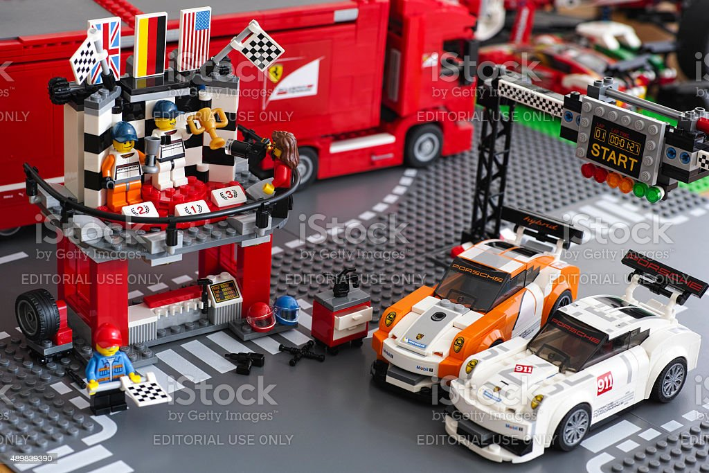Lego Winning podium in Porsche 911 GT Finish Line stock photo