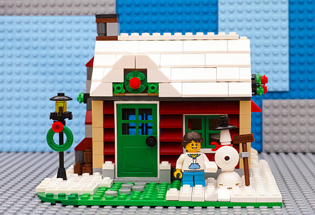 lego winter house - lego house stock photos and pictures