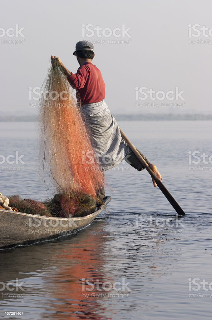 Leg-rowing Fisherman royalty-free stock photo