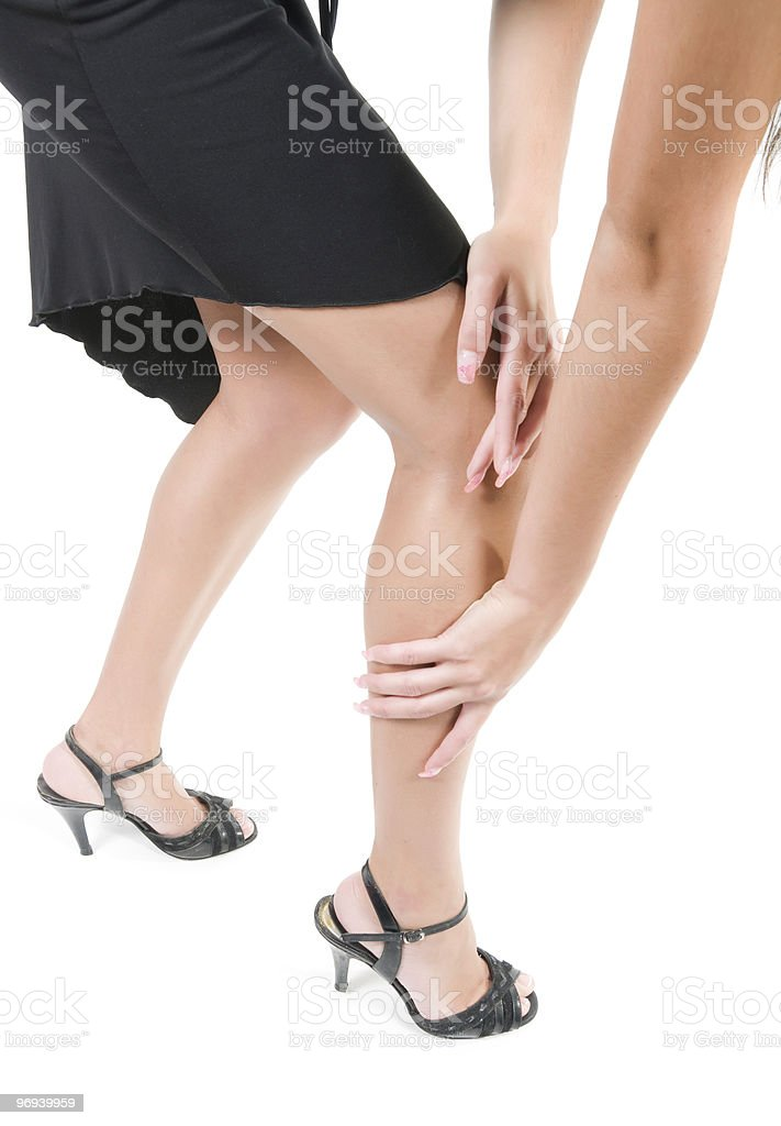 Legs and arms of woman in studio royalty-free stock photo
