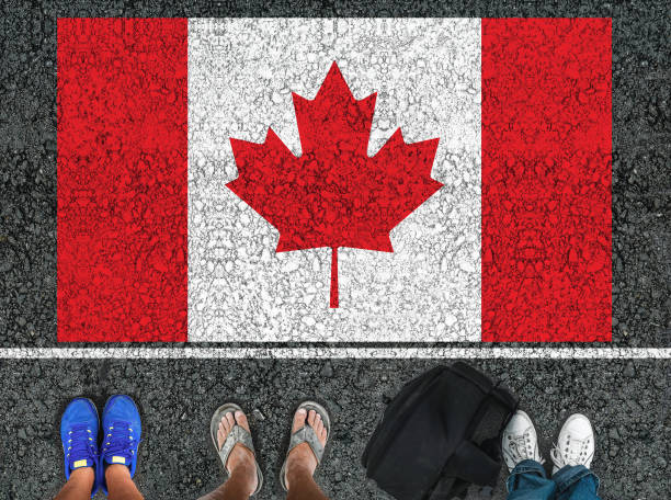 legs and flag of Canada stock photo