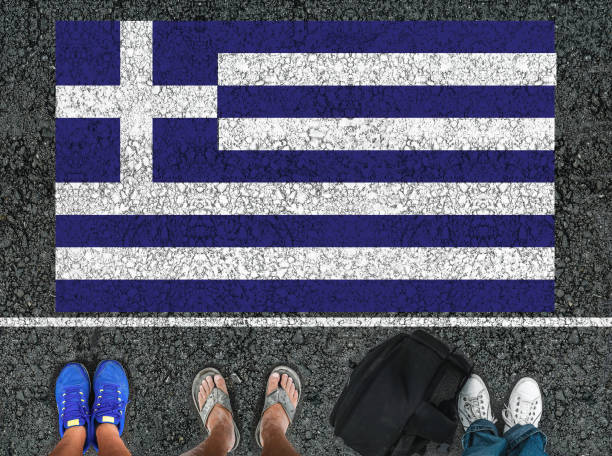legs and flag of Greece stock photo