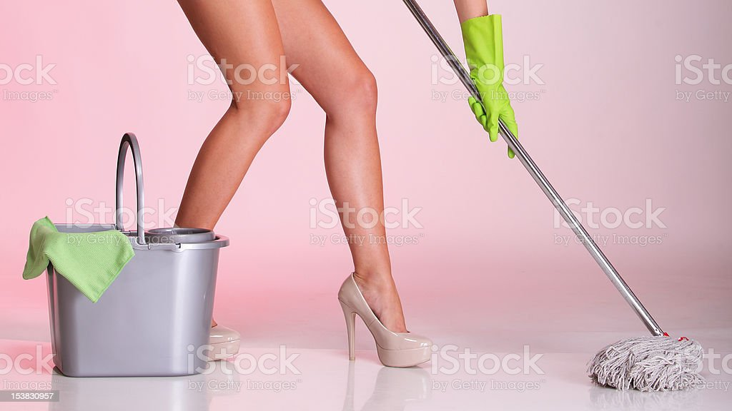 legs and hand mop cleaner girl Woman housewife stock photo