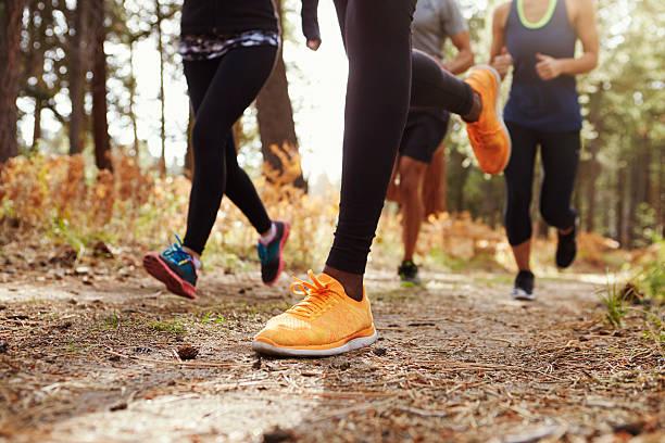 piernas y zapatos de cuatro adultos jóvenes corriendo en el bosque - trail running fotografías e imágenes de stock