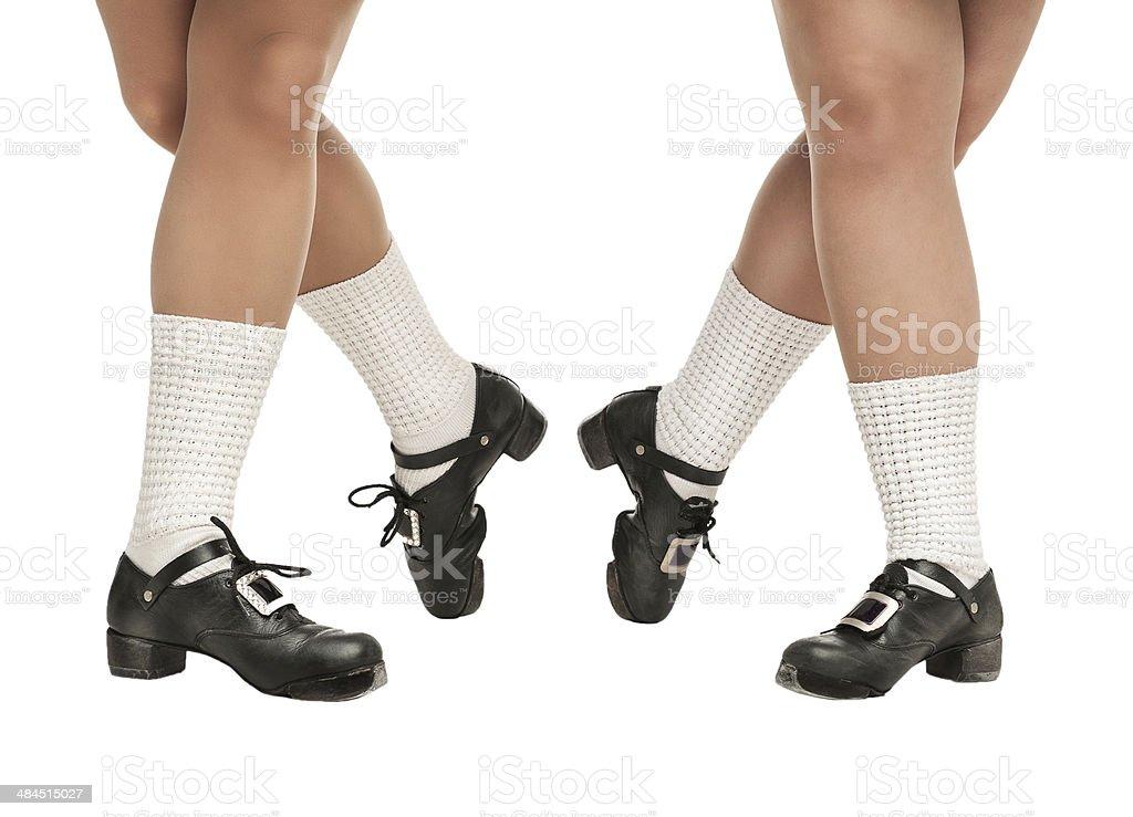 Legs in hard shoes for irish dancing stock photo