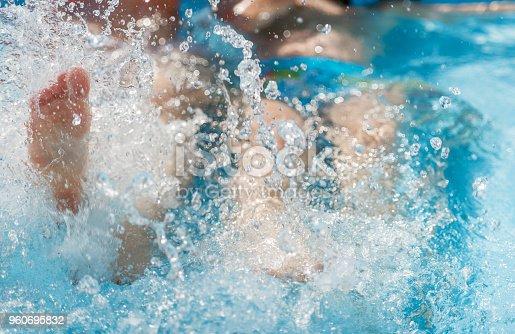 694409862 istock photo Legs in the pool splashing water 960695832