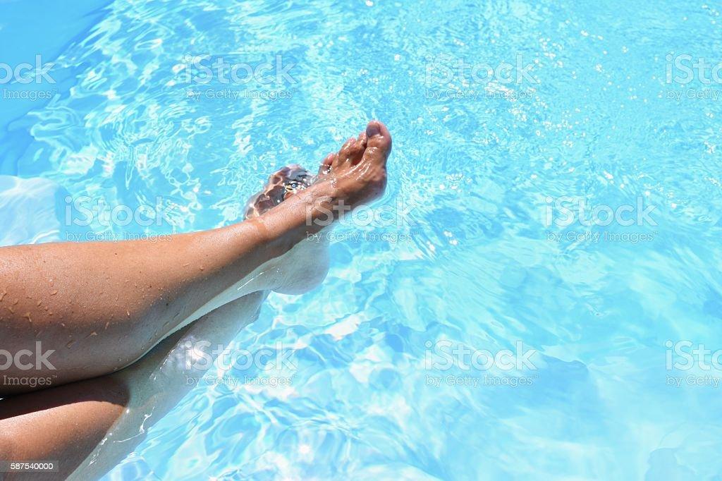 Legs In The Pool With Clean Water Summer Background Stockfoto und mehr  Bilder von Aktivitäten und Sport