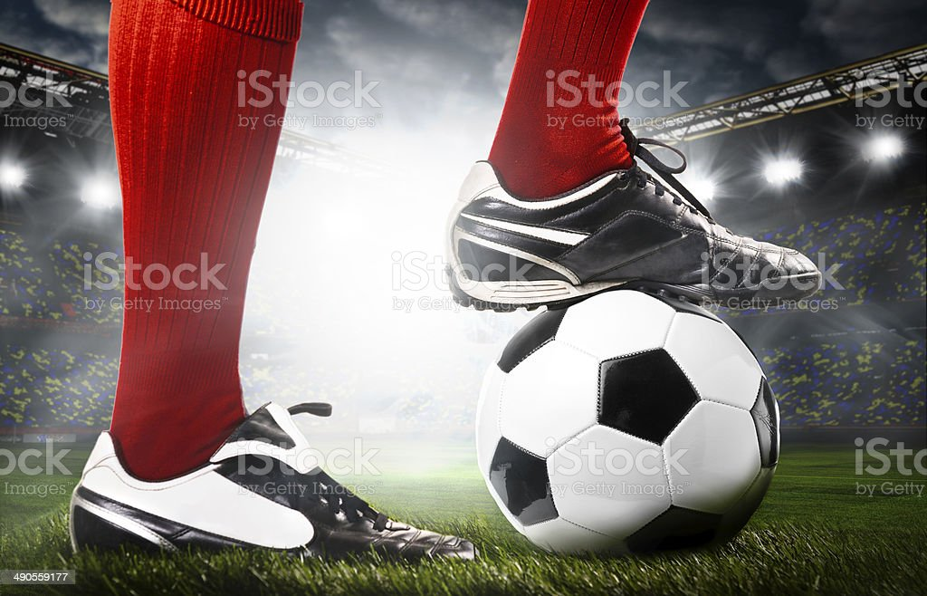 legs of a soccer player stock photo