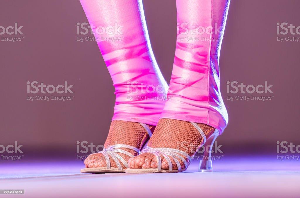 e84ade60b Piernas De Una Bailarina De Cabaret Atractivo En Medias De Red Pies ...