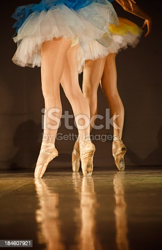 istock Legs of ballerinas - balet background with copy space 184607921