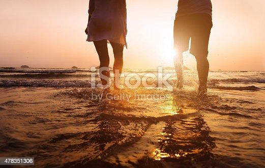 istock legs of couple running to the sea 478351306