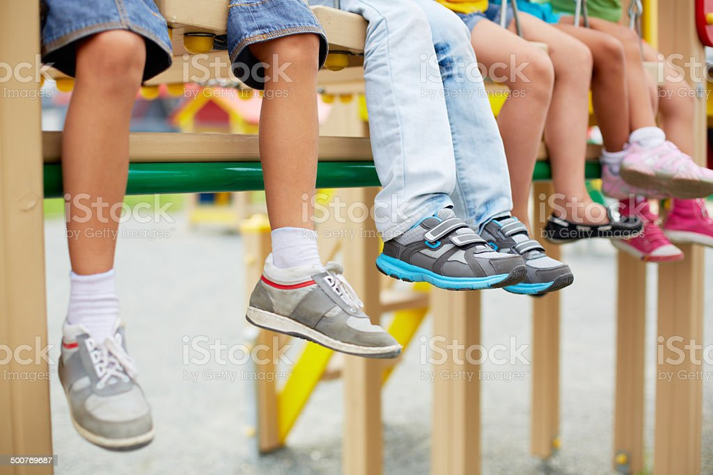 Legs of kids stock photo