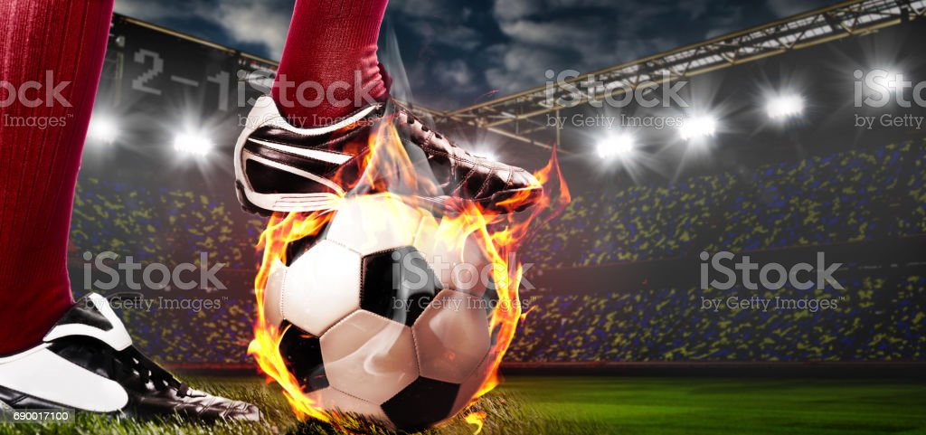 legs of soccer or football player stock photo