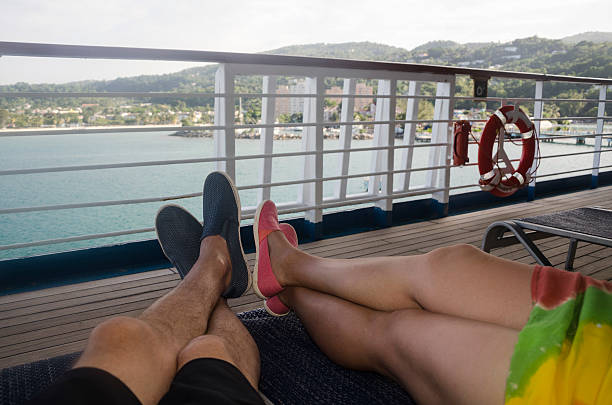 Legs on Deck in Jamaica stock photo