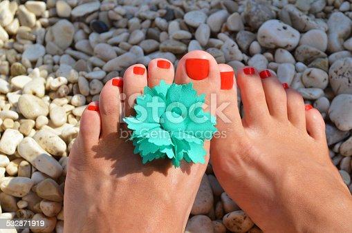 istock Legs on the beach 532871919